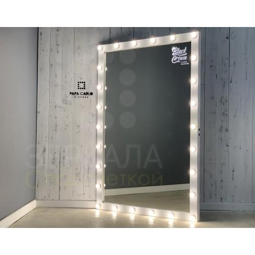 Гримерное зеркало из натурального дерева с подсветкой 190х125