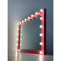 Гримерное зеркало 100х150 розового цвета с подсветкой 15 светодиодными лампами
