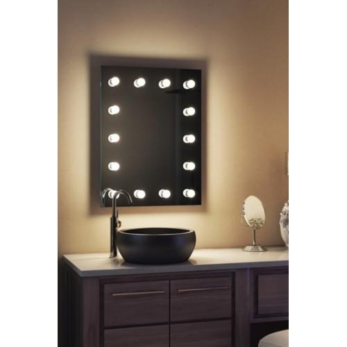 Зеркало в ванную комнату с подсветкой лампочками Грейс