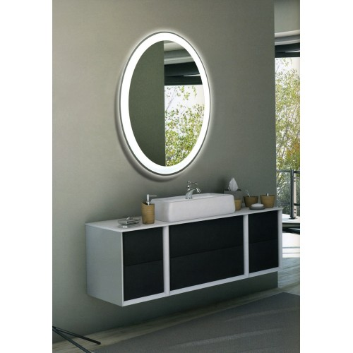 Зеркало в ванную комнату с контурной подсветкой светодиодной лентой Гармония